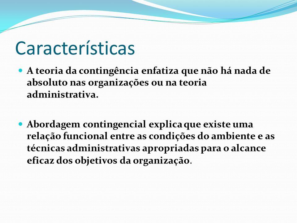 CaracterísticasA teoria da contingência enfatiza que não há nada de absoluto nas organizações ou na teoria administrativa.
