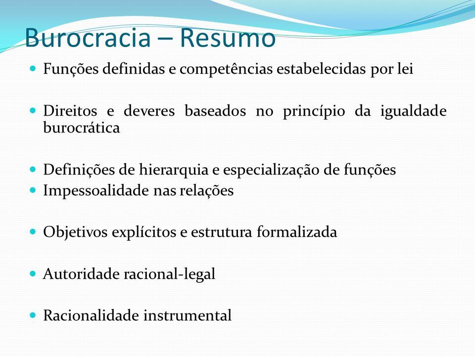 Burocracia – ResumoFunções definidas e competências estabelecidas por lei. Direitos e deveres baseados no princípio da igualdade burocrática.