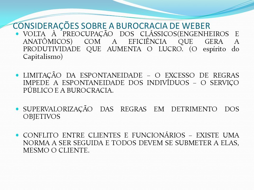 CONSIDERAÇÕES SOBRE A BUROCRACIA DE WEBER