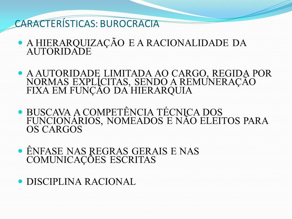 CARACTERÍSTICAS: BUROCRACIA