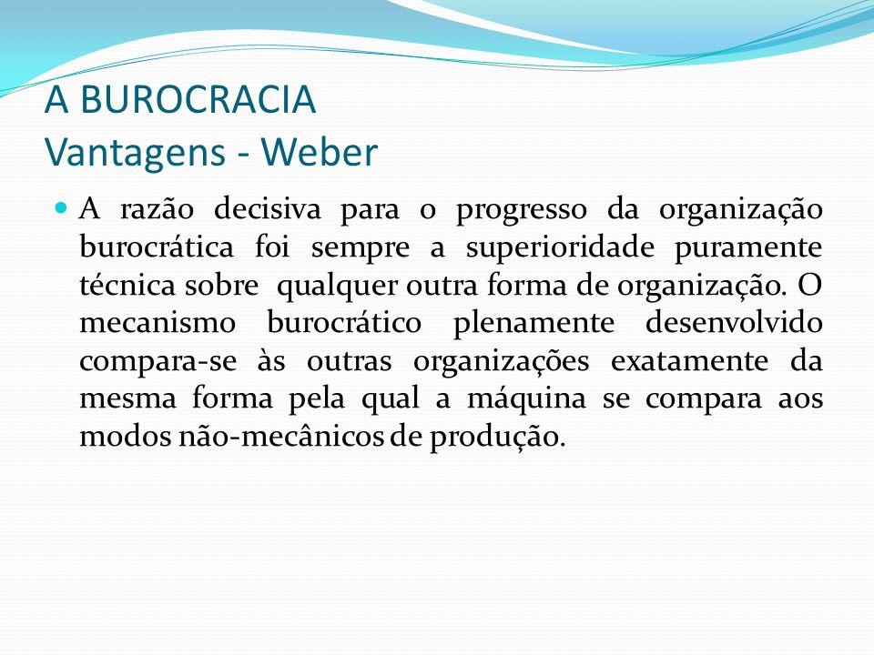 A BUROCRACIA Vantagens - Weber