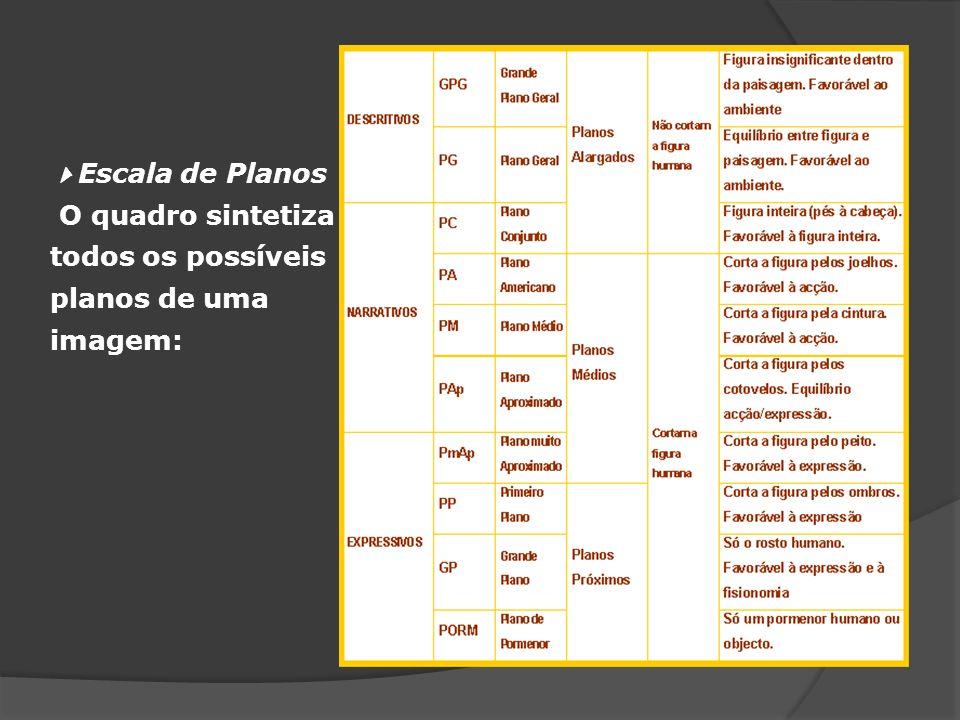 Escala de Planos O quadro sintetiza todos os possíveis planos de uma imagem: