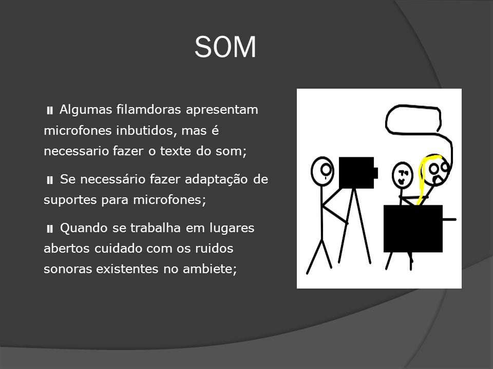 SOM  Algumas filamdoras apresentam microfones inbutidos, mas é necessario fazer o texte do som;