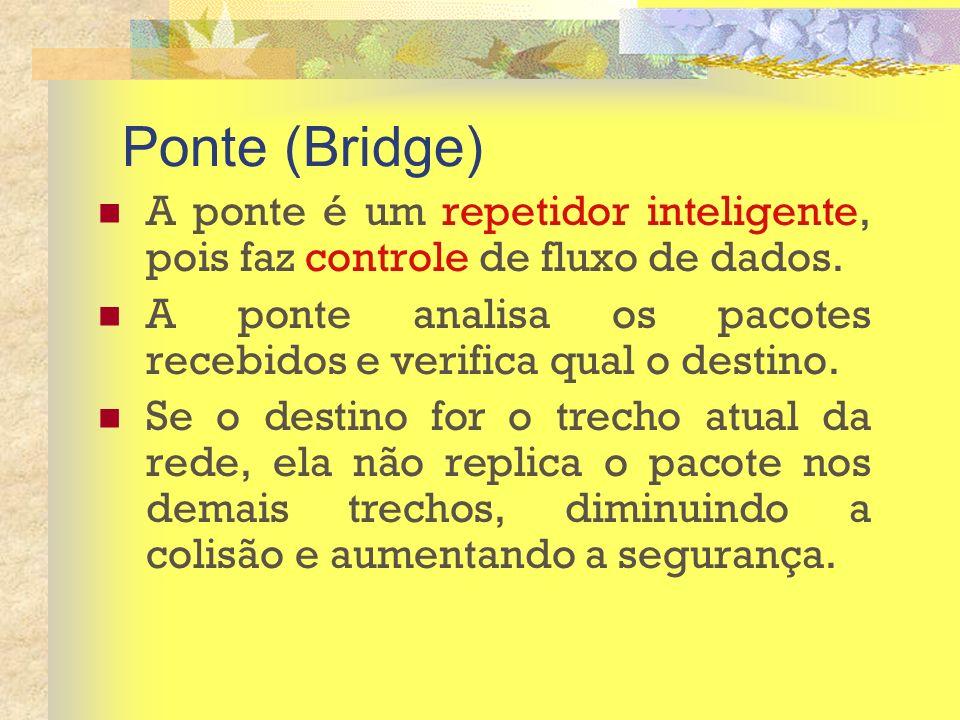 Ponte (Bridge) A ponte é um repetidor inteligente, pois faz controle de fluxo de dados.
