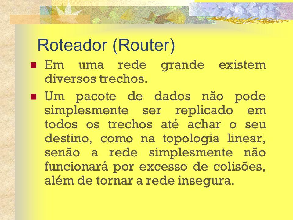 Roteador (Router) Em uma rede grande existem diversos trechos.