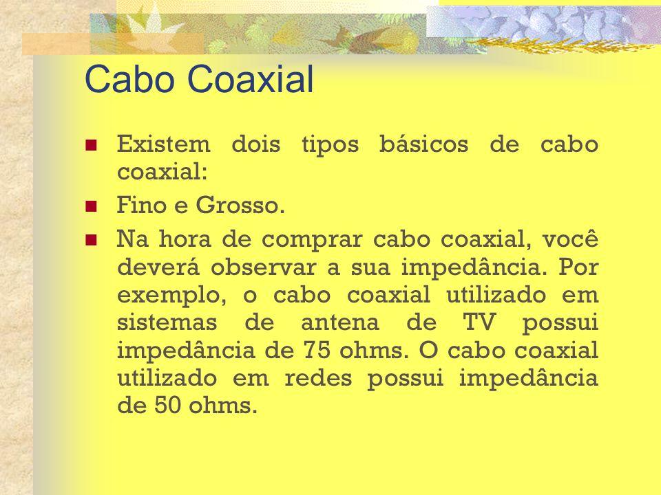 Cabo Coaxial Existem dois tipos básicos de cabo coaxial: