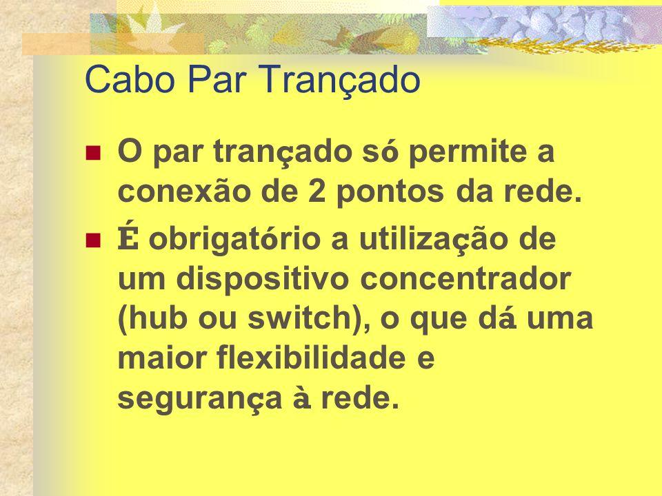Cabo Par Trançado O par trançado só permite a conexão de 2 pontos da rede.