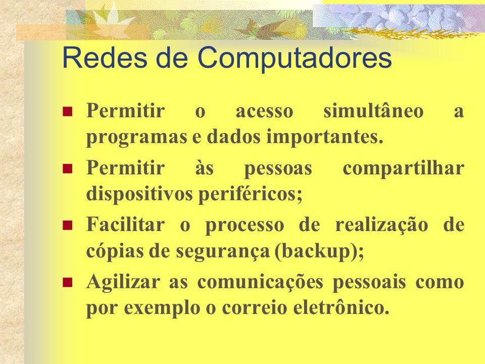 Redes de Computadores Permitir o acesso simultâneo a programas e dados importantes. Permitir às pessoas compartilhar dispositivos periféricos;