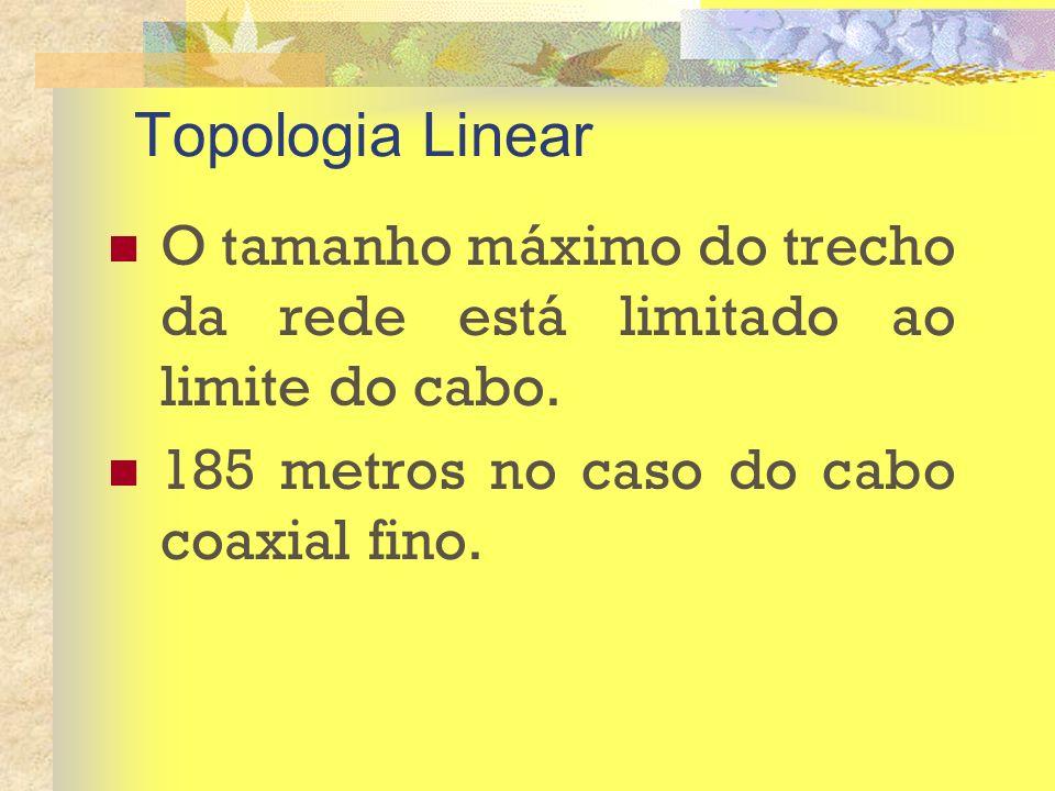 Topologia Linear O tamanho máximo do trecho da rede está limitado ao limite do cabo.