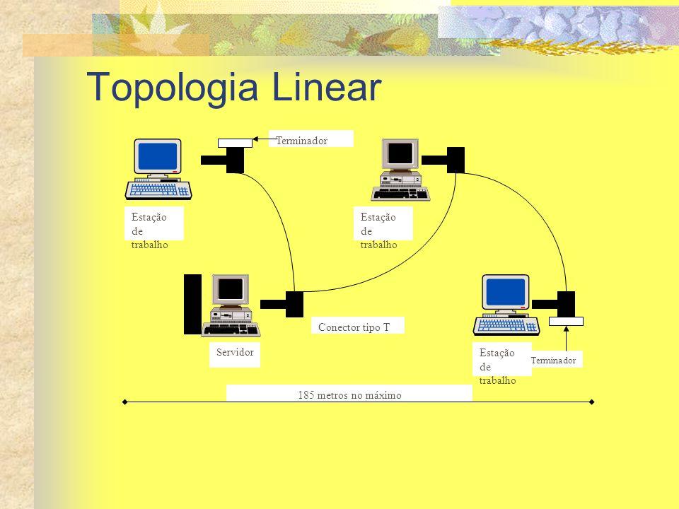 Topologia Linear Terminador Estação de trabalho Conector tipo T