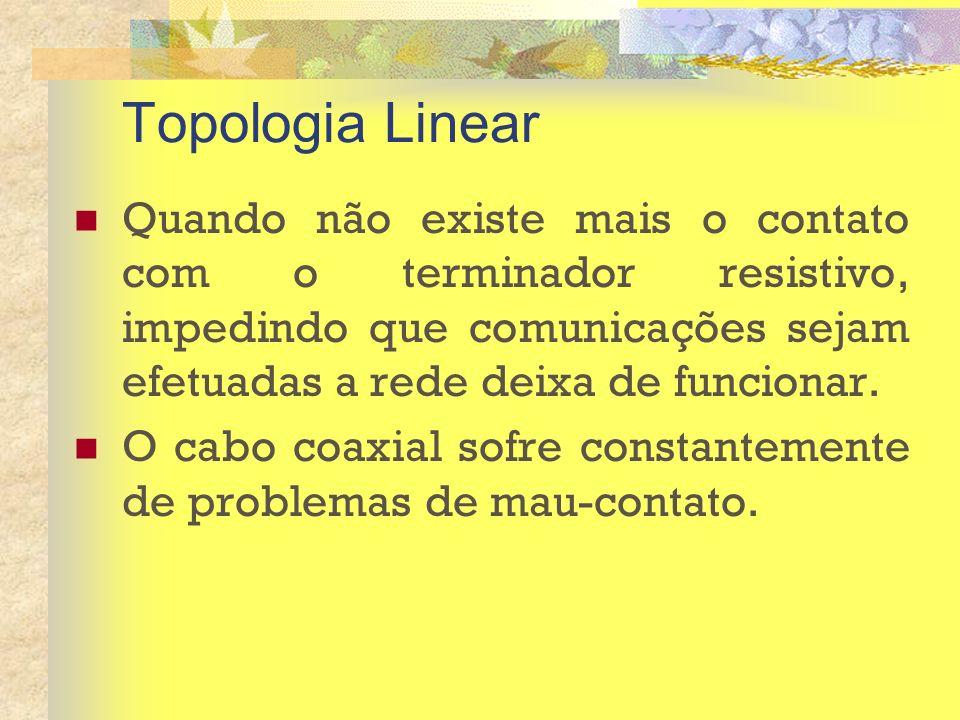 Topologia Linear Quando não existe mais o contato com o terminador resistivo, impedindo que comunicações sejam efetuadas a rede deixa de funcionar.