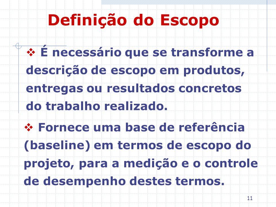Definição do EscopoÉ necessário que se transforme a descrição de escopo em produtos, entregas ou resultados concretos do trabalho realizado.
