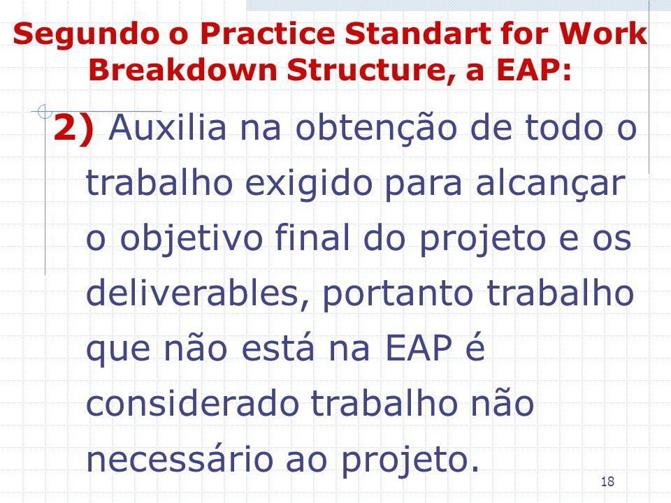 Segundo o Practice Standart for Work Breakdown Structure, a EAP: