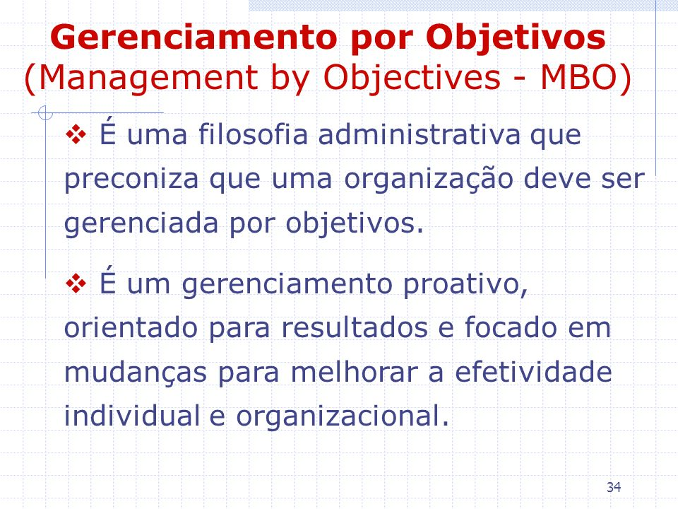 Gerenciamento por Objetivos (Management by Objectives - MBO)