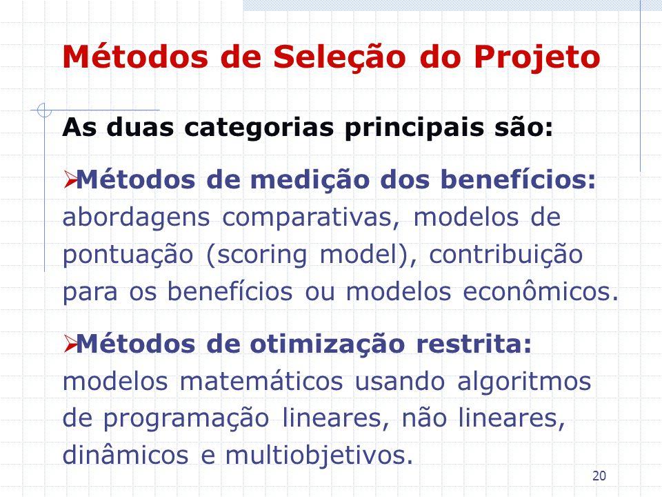 Métodos de Seleção do Projeto