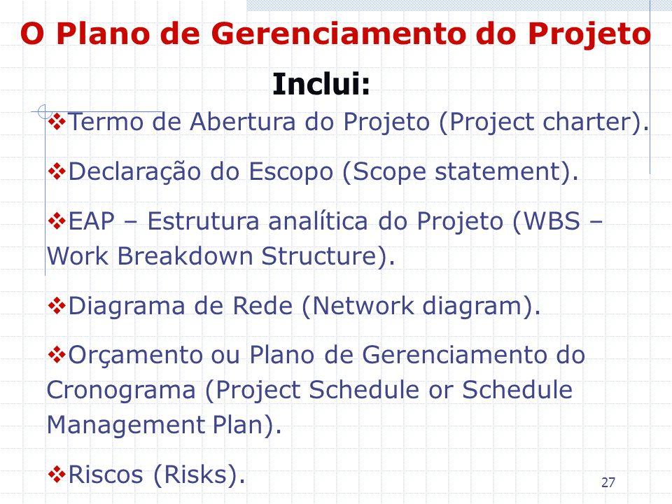 O Plano de Gerenciamento do Projeto