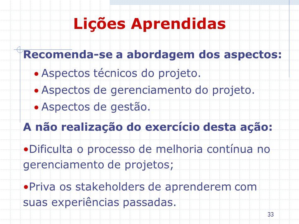 Lições Aprendidas Recomenda-se a abordagem dos aspectos: