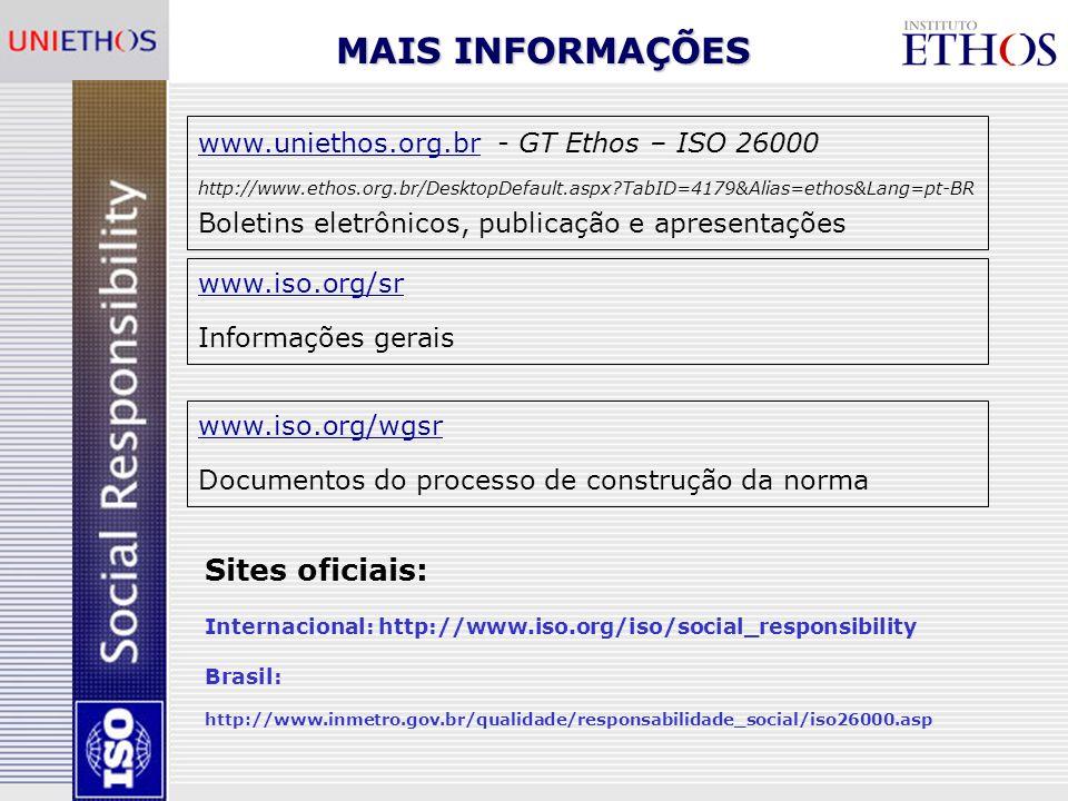MAIS INFORMAÇÕES Sites oficiais: