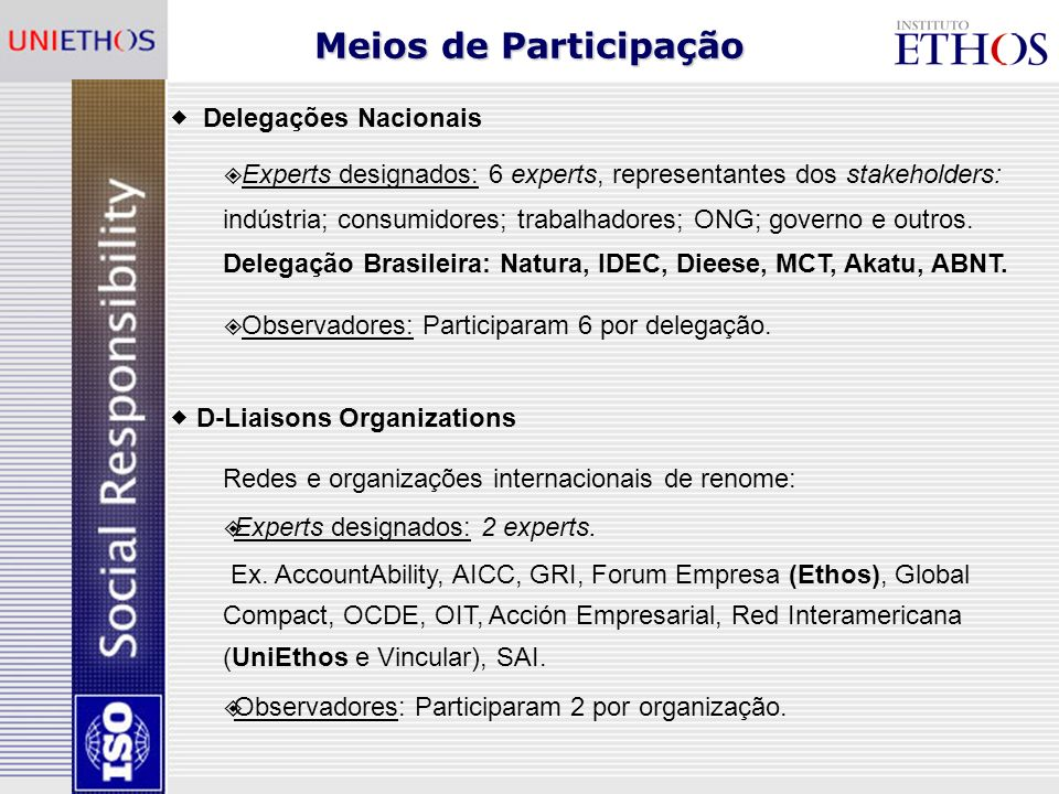 Meios de Participação Delegações Nacionais