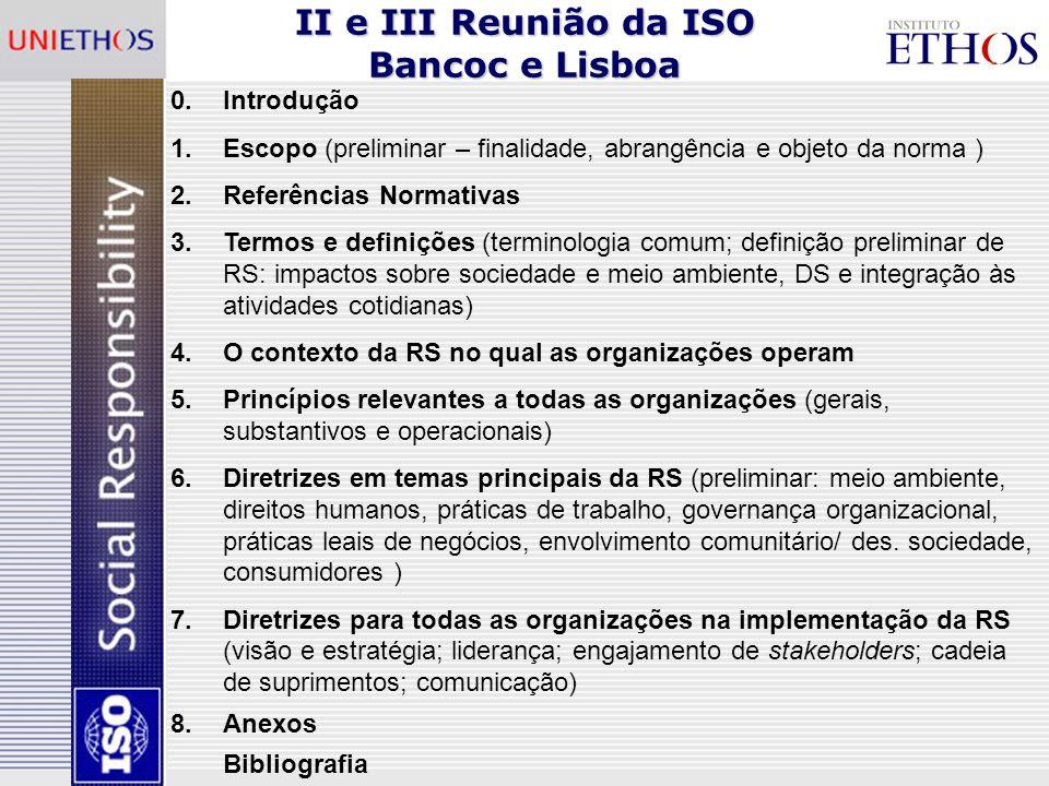 II e III Reunião da ISO Bancoc e Lisboa