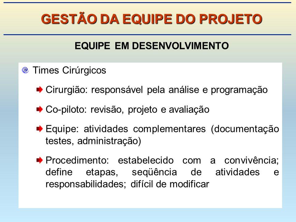 GESTÃO DA EQUIPE DO PROJETO EQUIPE EM DESENVOLVIMENTO