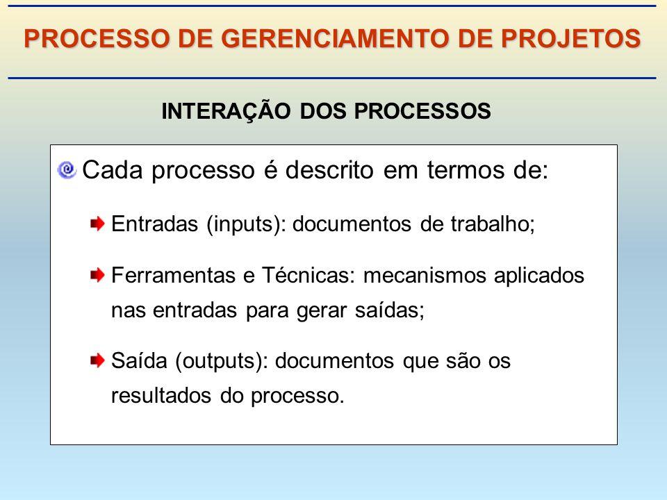 PROCESSO DE GERENCIAMENTO DE PROJETOS INTERAÇÃO DOS PROCESSOS