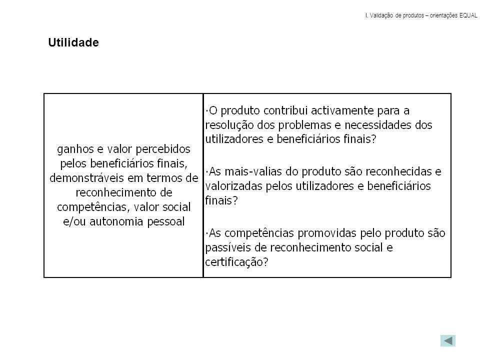 I. Validação de produtos – orientações EQUAL