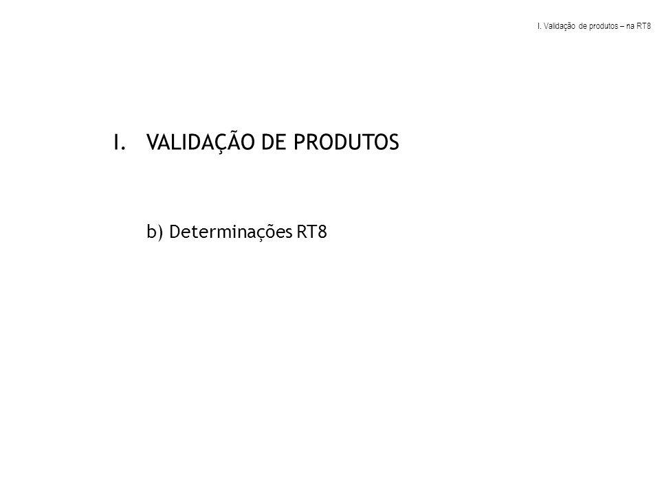 VALIDAÇÃO DE PRODUTOS b) Determinações RT8