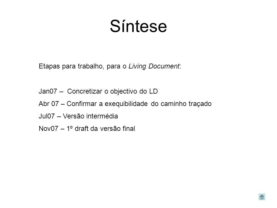 Síntese Etapas para trabalho, para o Living Document: