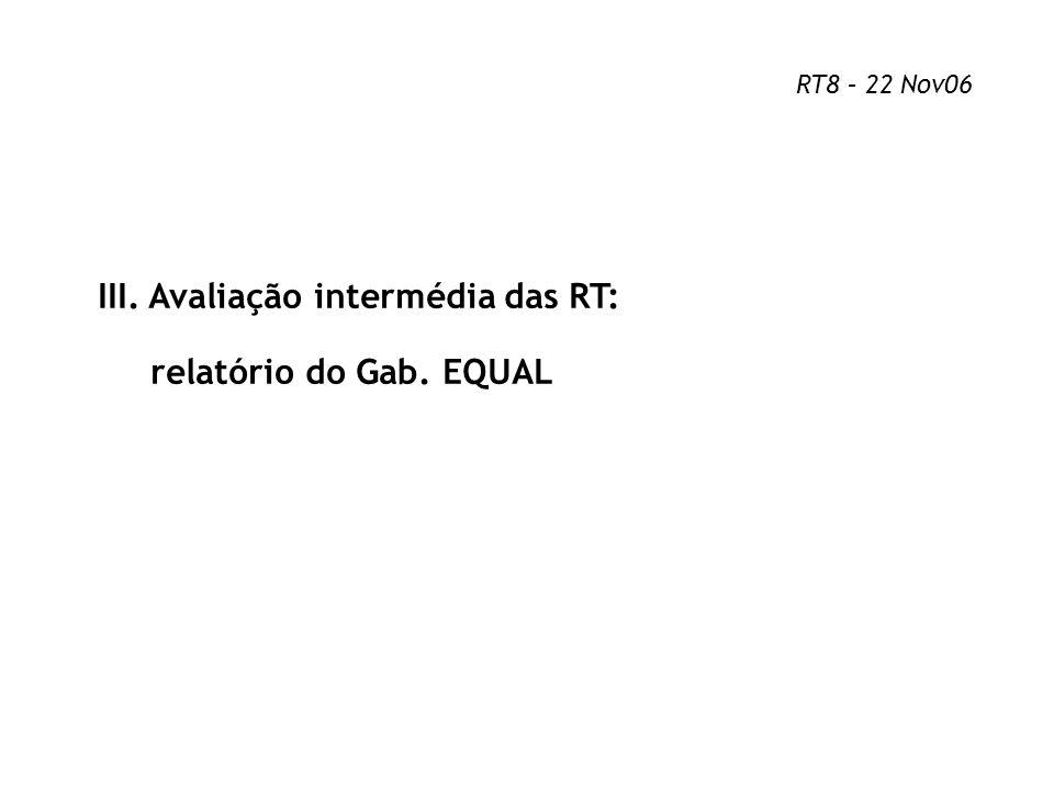 III. Avaliação intermédia das RT: relatório do Gab. EQUAL