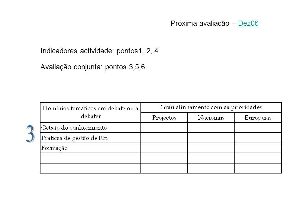 3 Próxima avaliação – Dez06 Indicadores actividade: pontos1, 2, 4
