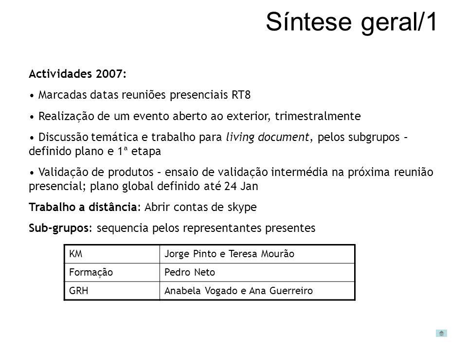 Síntese geral/1 Actividades 2007: