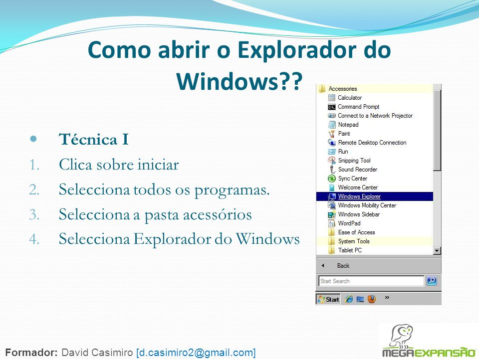 Como abrir o Explorador do Windows