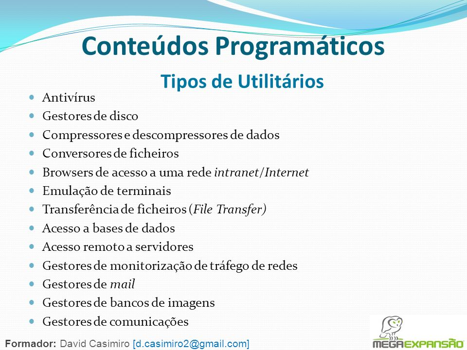 Conteúdos Programáticos Tipos de Utilitários