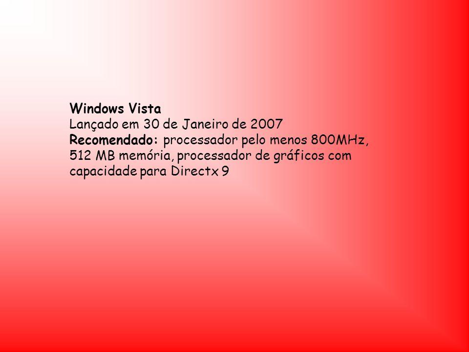 Windows Vista Lançado em 30 de Janeiro de 2007.