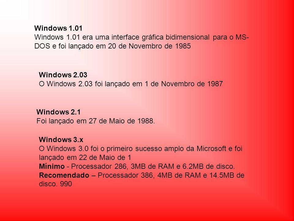 Windows 1.01Windows 1.01 era uma interface gráfica bidimensional para o MS-DOS e foi lançado em 20 de Novembro de 1985.