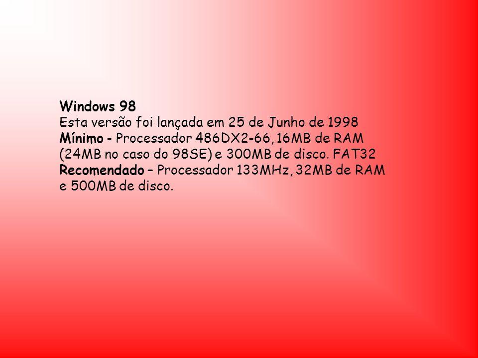 Windows 98 Esta versão foi lançada em 25 de Junho de 1998.