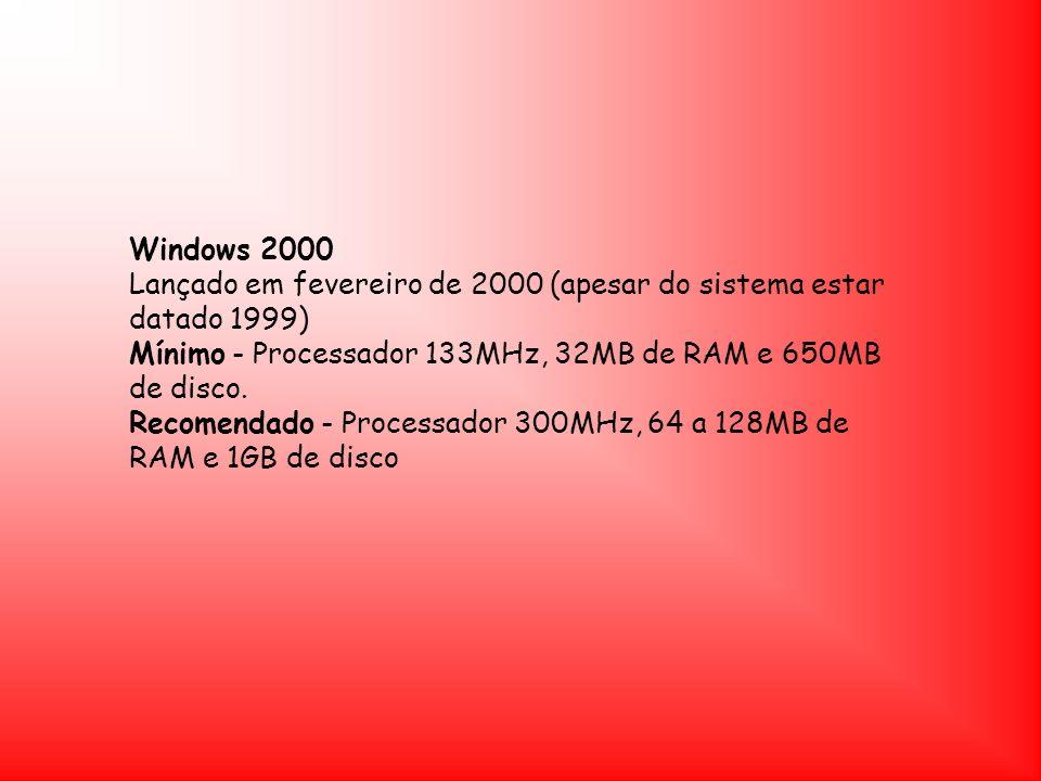 Windows 2000 Lançado em fevereiro de 2000 (apesar do sistema estar datado 1999)