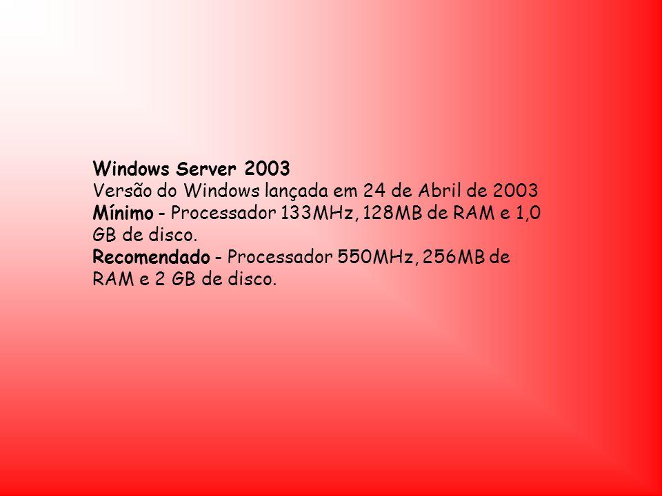 Windows Server 2003 Versão do Windows lançada em 24 de Abril de 2003.