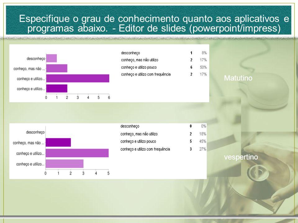 Especifique o grau de conhecimento quanto aos aplicativos e programas abaixo. - Editor de slides (powerpoint/impress)