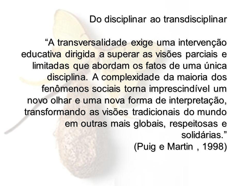Do disciplinar ao transdisciplinar A transversalidade exige uma intervenção educativa dirigida a superar as visões parciais e limitadas que abordam os fatos de uma única disciplina.