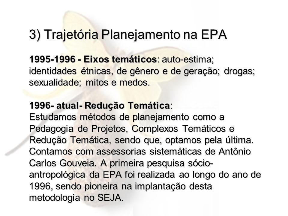 3) Trajetória Planejamento na EPA 1995-1996 - Eixos temáticos: auto-estima; identidades étnicas, de gênero e de geração; drogas; sexualidade; mitos e medos.