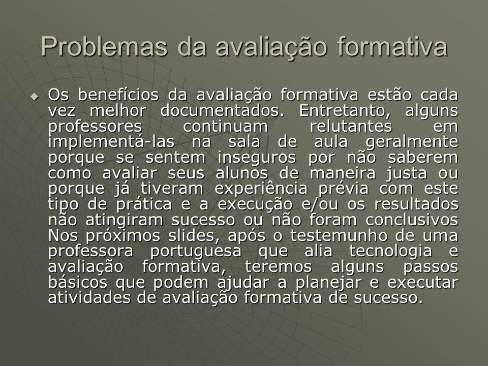 Problemas da avaliação formativa