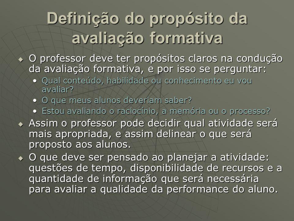 Definição do propósito da avaliação formativa