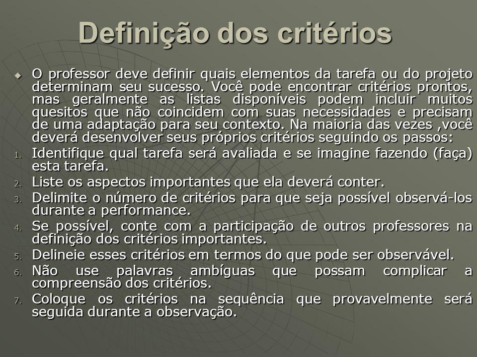 Definição dos critérios