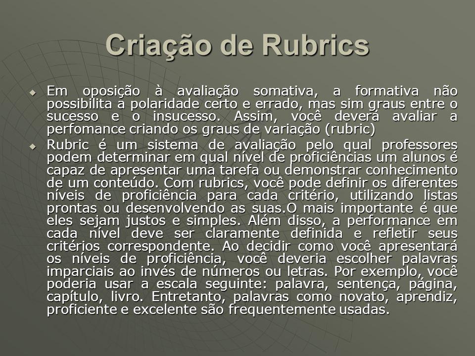 Criação de Rubrics