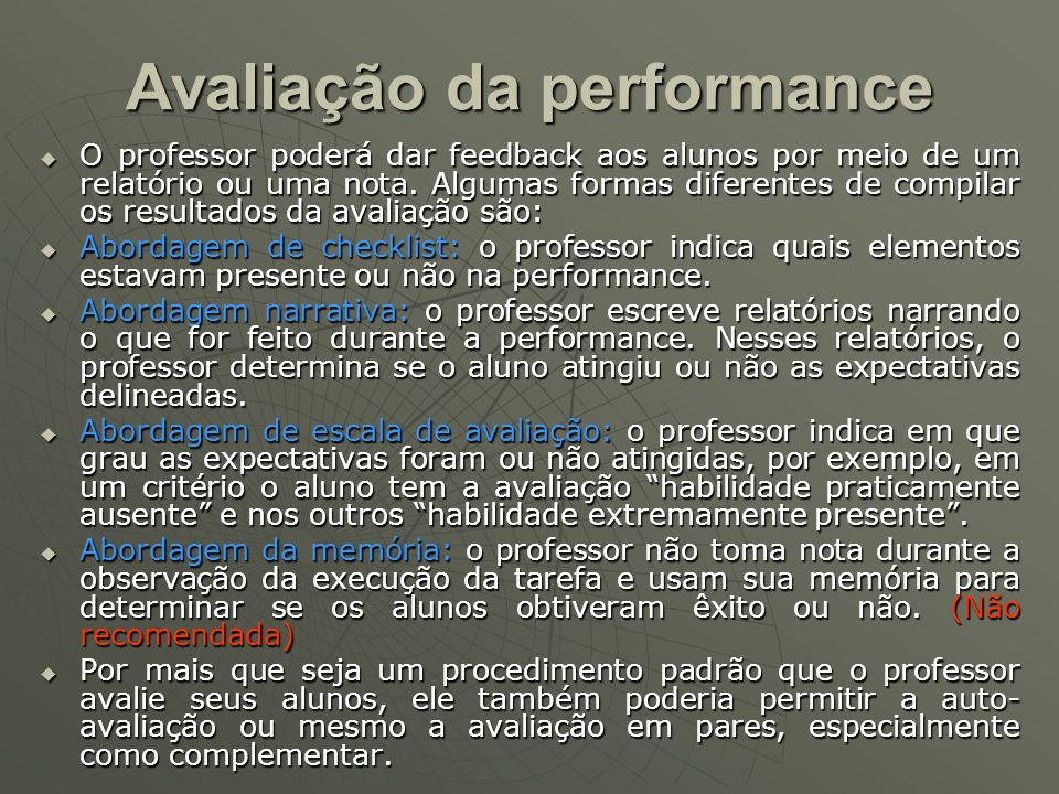 Avaliação da performance