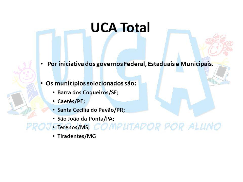 UCA Total Por iniciativa dos governos Federal, Estaduais e Municipais.