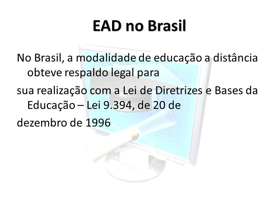 EAD no Brasil No Brasil, a modalidade de educação a distância obteve respaldo legal para.