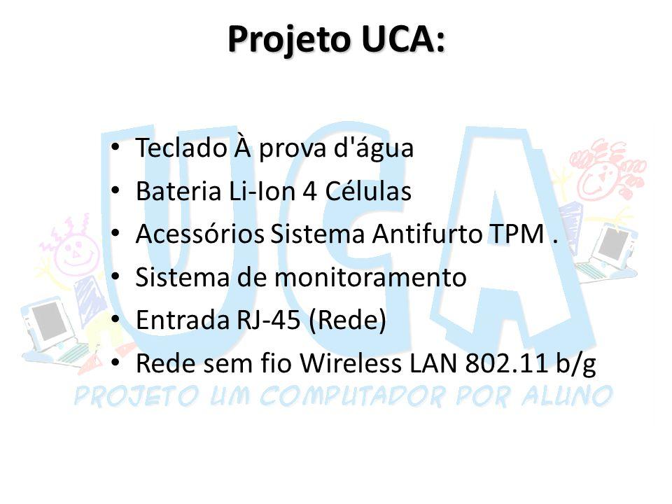 Projeto UCA: Teclado À prova d água Bateria Li-Ion 4 Células